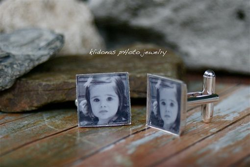 Custom Made Silver Photo Cufflinks For Father Of The Bride