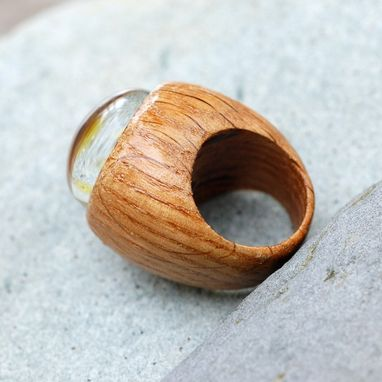 Custom Made Wood Ring Glass Cab Boro Borosilicate Lampwork Wooden Jewelry The King's Power Size 6