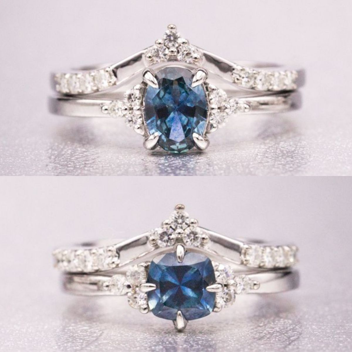 776b1f56e Montana Sapphire The couple mined these sapphires themselves while in  Montana and had them cut into an oval and a cushion. We designed elegant  pairs of ...