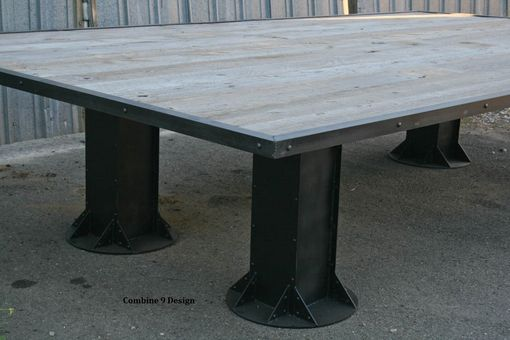Custom Made Vintage Industrial Conference Table. Reclaimed Wood. Rustic Office Furniture. Custom Sizes.