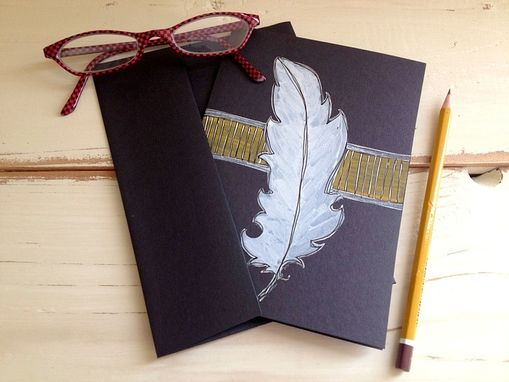 Custom Made Hand Illustrated Feather Note Cards