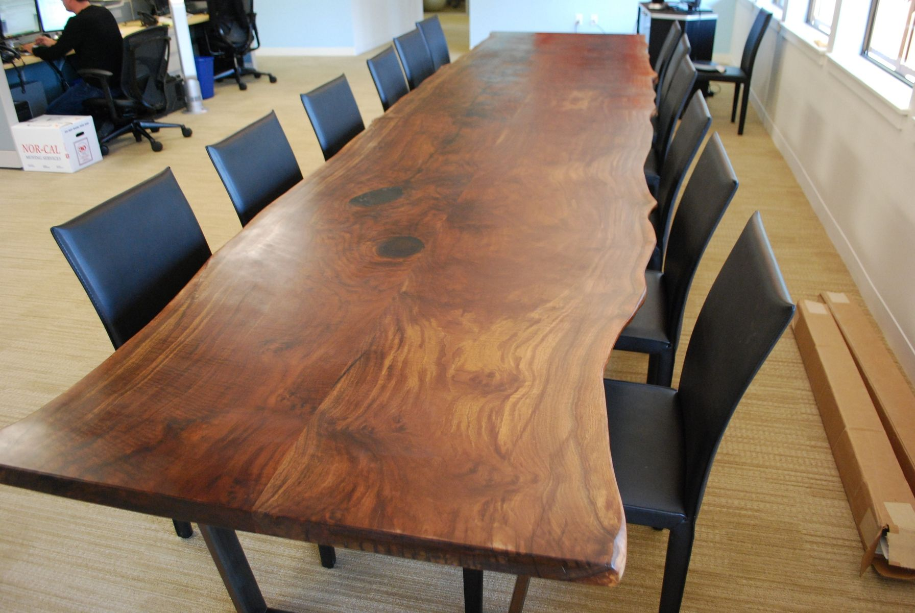 Custom Walnut Slab Conference Table By Iota Woodworks