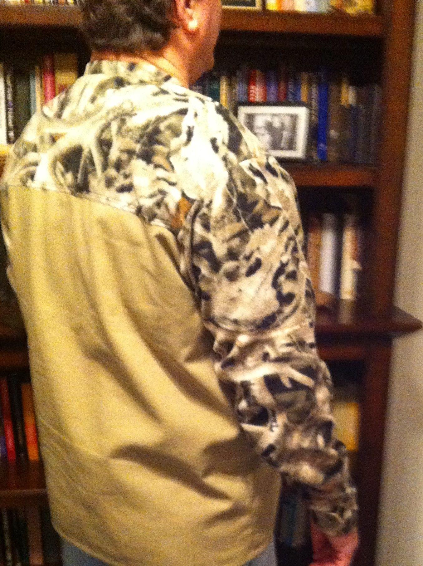 Hand Made Shirt Canvas And Camo Fleece Long Sleeve By Gabbigirlz