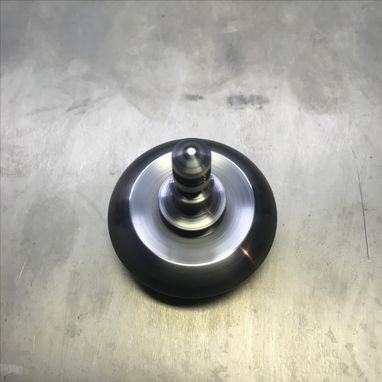 "Custom Made 1.5"" Diameter Iron And Titanium Spinning Top, Saucer Body"