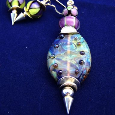 Custom Made Violet Aura Lampwork Glass Pendant