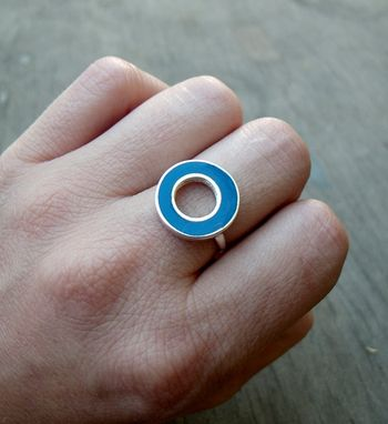 Custom Made Small Resin Silver Ring - Dark Blue Resin Ring - Tiny Ring For Women And Teenagers