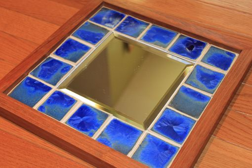 Custom Made Cobalt Crystalline Tiled Mirror