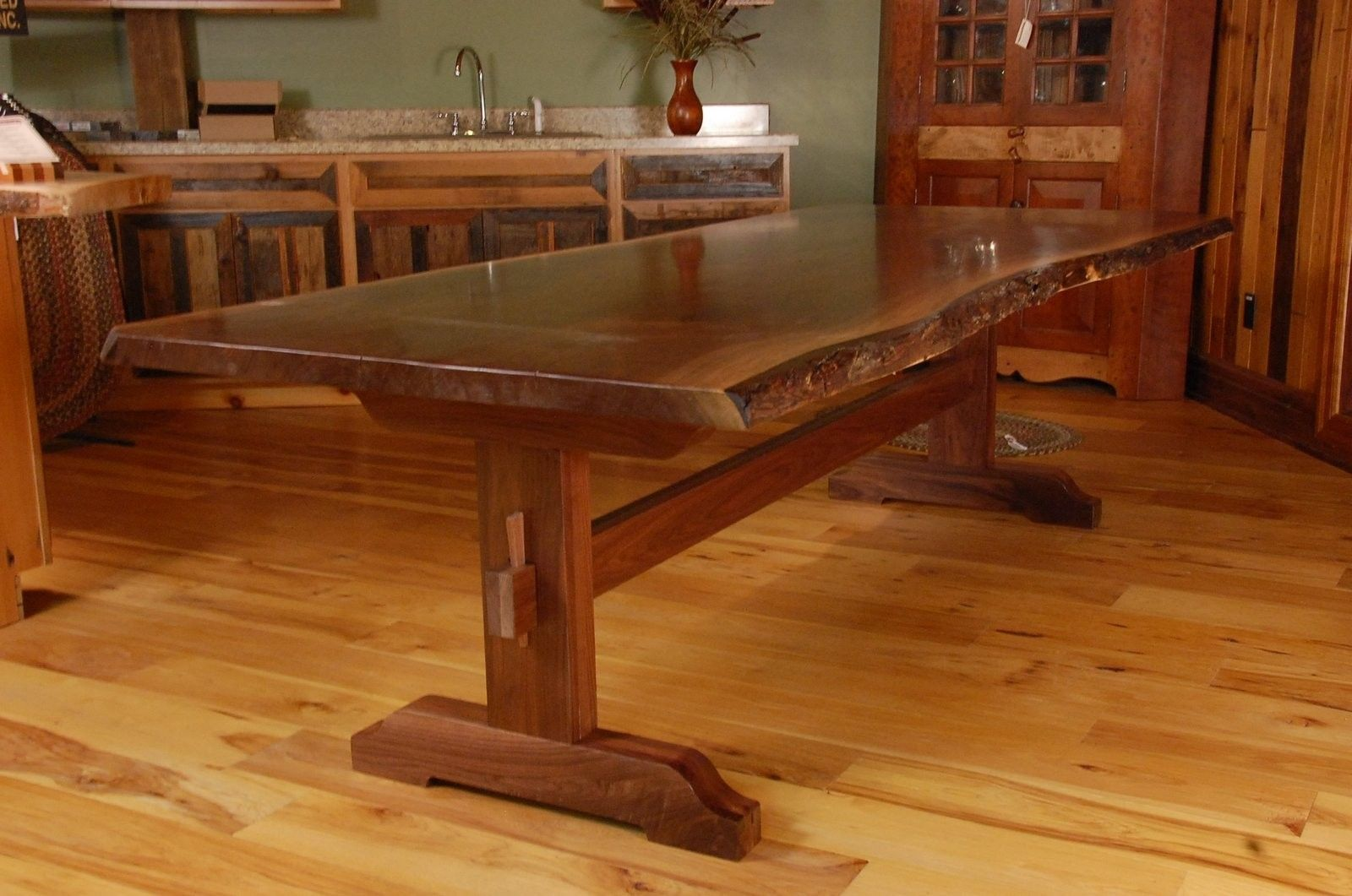 Live Edge Walnut Slab Trestle Dining Table