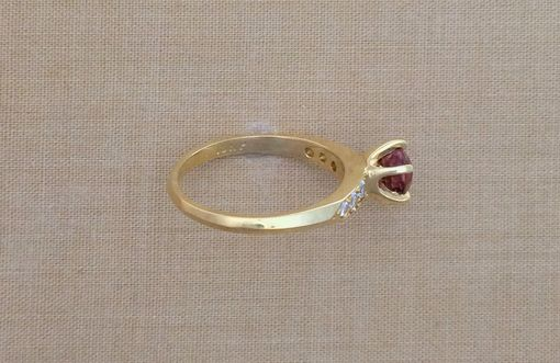 Custom Made Tourmaline & Diamond Ring - 18k Yellow Gold Setting - October Birthstone - Engagement Ring