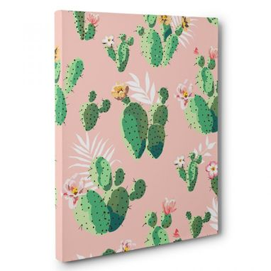 Custom Made Cactus And Flowers Canvas Wall Art