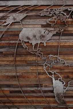 Custom Made World Map Artwork Made Of Old Barnwood And Natural Steel 48