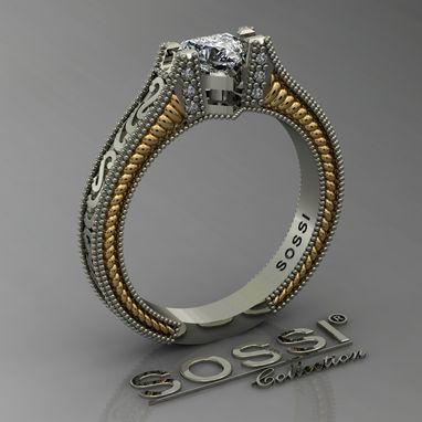 Custom Made Women's Western 14k White And Yellow Gold Diamond Engagement Ring 0.48ct