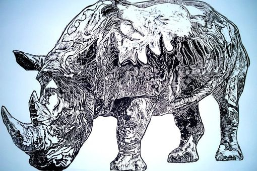 Custom Made A Rhino For Durer. Wood Cut Print On Paper.