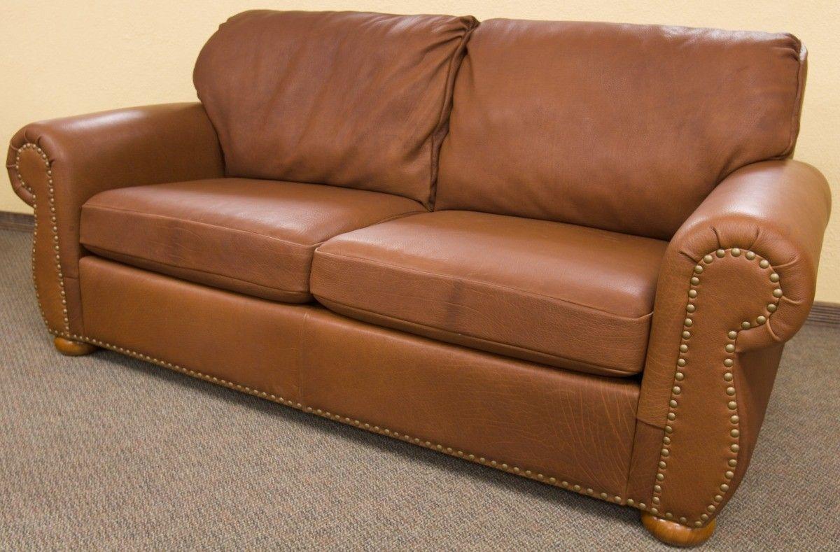 custom bison leather tobacco sofa by dakota bison. Black Bedroom Furniture Sets. Home Design Ideas