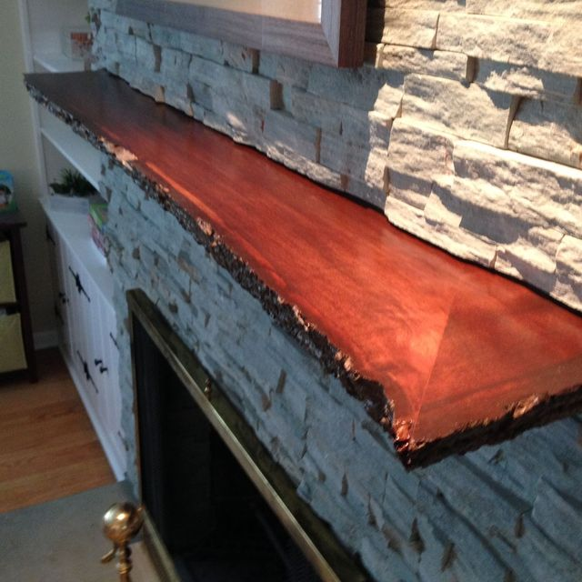 Hand Crafted Live Edge Slab Fireplace Mantle By Mad Woodwork Custommade