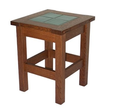 Custom Made Tile-Topped Side Table