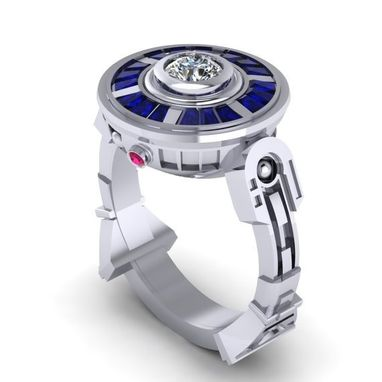 Custom Made The Original R2 Lte- 14k White Gold Ring, Sapphire And Ruby Engagement Ring,
