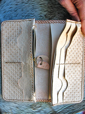 Custom Made Hand Tooled, Hand Carved, Big Horse Round Mexican Braid Long Wallet And Card Case (2 Pieces).