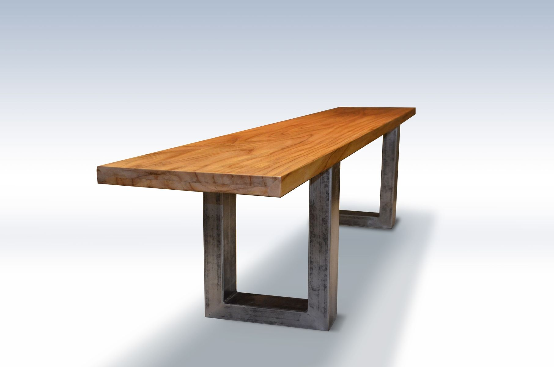 Modern log bench - Modern Teak Bench With Metal Legs