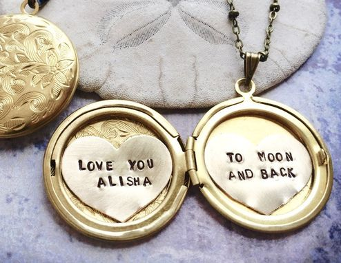 Custom Made Personalized Locket Necklace, Because I Fucking Love You, Custom Hand Stamped  Locket Necklace
