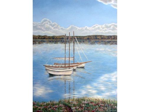 Custom Made Floating Sailboat Mural On Canvas By Visionary Mural Co.