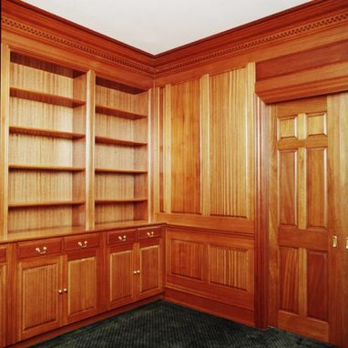 Custom Made Traditional Raised Panel Philippine Ribbon Mahogany Library