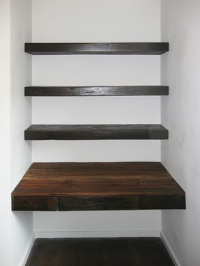Custom Made Reclaimed Wood Desk And Shelves–Construction & Installation