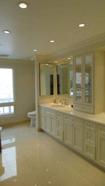 Custom Made Paint Grade Solid Maple; Double Sink Vanity With Mirrored Doors