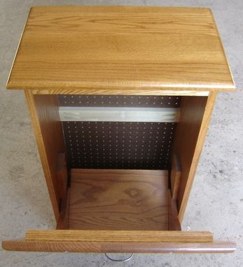 Custom Made New Solid Oak Wood Garbage Bin | Trash Can | Recycling Bin