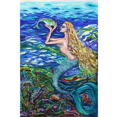 Custom Made Original Acrylic Painting Mermaid Fishnet