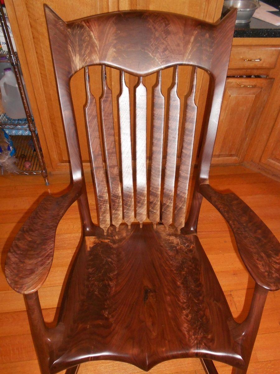 Hand Made Crotch Black Walnut Rocking Chair By Cornett
