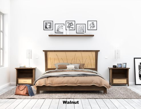 "Custom Made Platform Bed Walnut Queen Size, King, Low Bed Frame, Solid Wood, Headboard, ""Prairie Platform"""