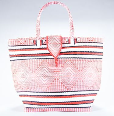 Custom Made Natte Tote-Large Size-Red And White