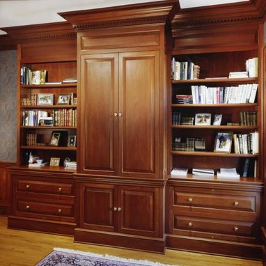 Custom Made Honduran Mahogany Office Entertainment Center In Greenwich, Ct