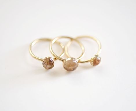 Custom Made 14k Gold Rutilated Quartz Ring