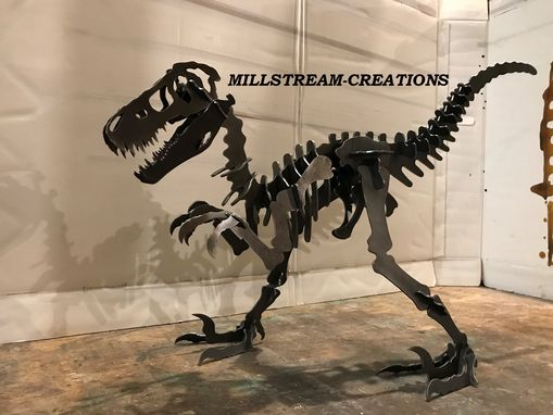 Custom Made Big 7 Foot  Raptor  Velociraptor Dinosaur Oversized Steel Sculpture 3d Puzzle For  Yard  Or Indoors