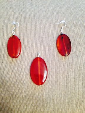 Custom Made Handmade Orange-Red Agate Earings And Pendant!
