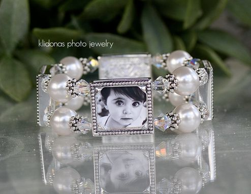 Custom Made Four-Frame Photo Bracelet With Swarovski Pearls And Clear Crystal Bicones