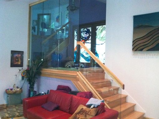 Custom Made Oak Handrails With Glass Walls