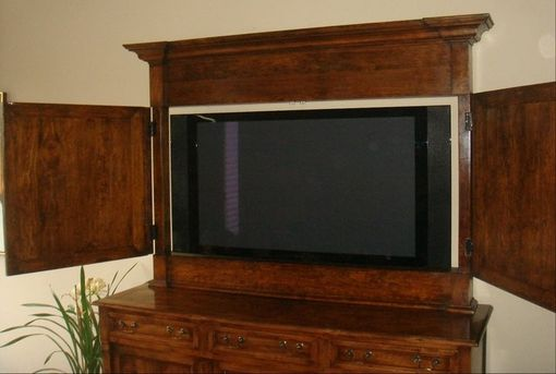 Custom Made Custom Tv Cabinet Top To Cover Flat Screen - In Cherry Wood With Hand Wax Finish