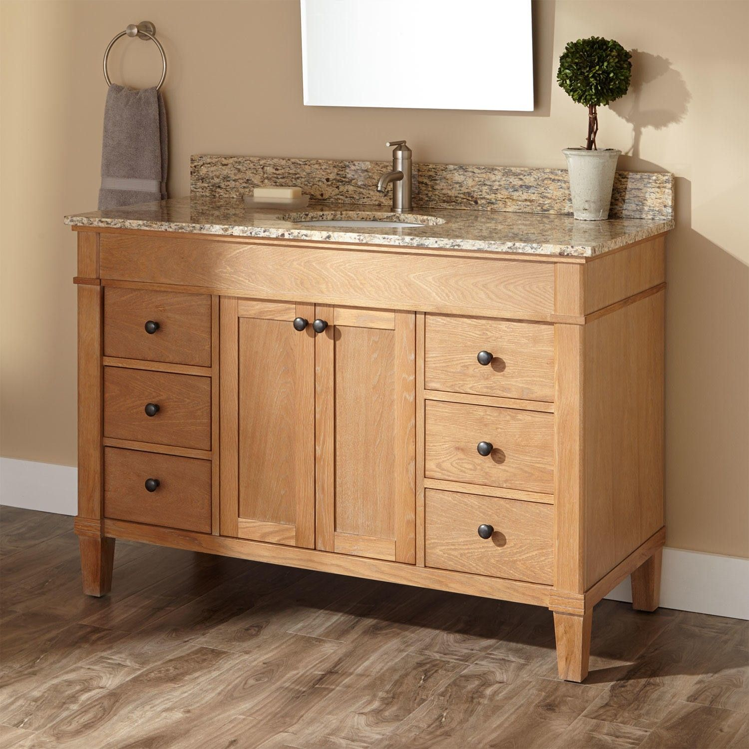Custom White Oak Furniture Vanity By S.D.G. Cabinetry