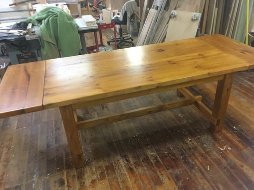 Custom Made Reclaimed Wood Farmers Table With Company Leaves