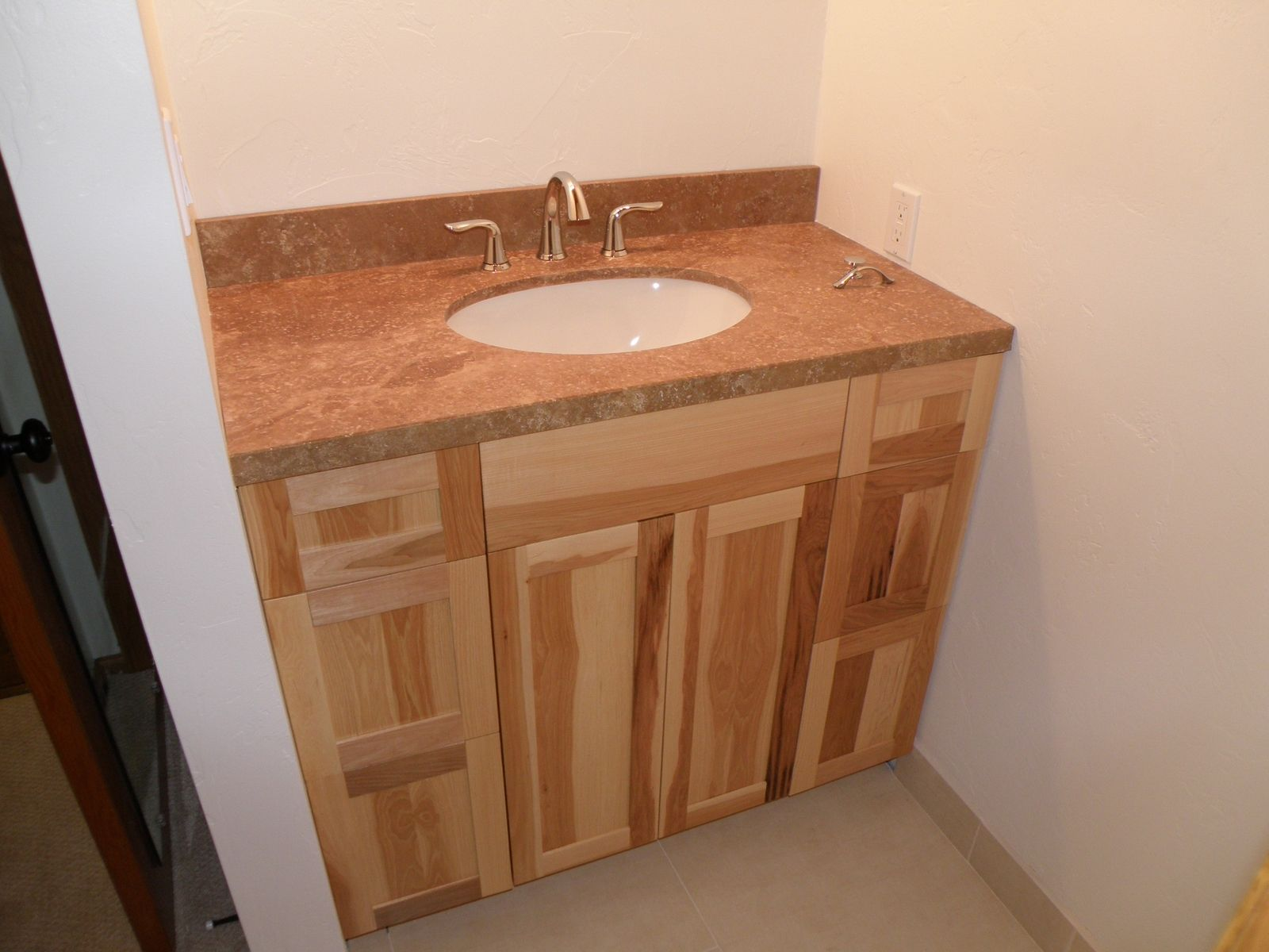 Custom made hickory vanity by wood wise productions for Bathroom cabinets natural wood