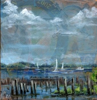 "Custom Made Sunday Excursion- 18"" X 18"" Mixed Media Seascape Painting"