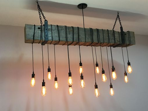 Buy A Custom Reclaimed Barn Beam Chandelier Light Fixture Modern Industrial Rustic Restaurant
