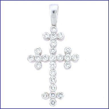 Custom Made 18k White Gold Diamond Cross With Invisible Setting