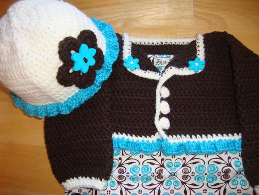 Custom Made Crocheted Hat, Diaper Cover And Shrug/Sweater
