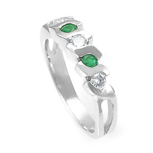 Custom Made Emerald And Diamond Band In 14k White Gold, Unique Band, Emerald Band