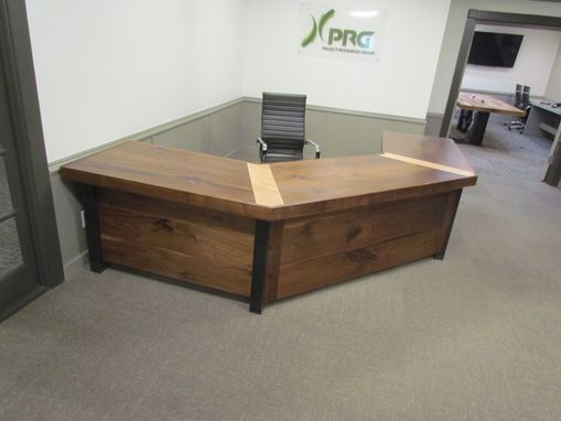Custom Made Walnut Maple And Steel Receprion Desk