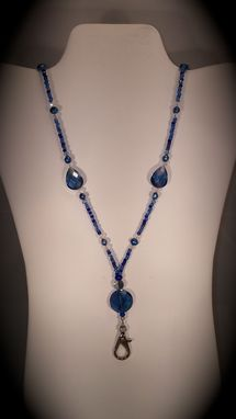 Custom Made Brilliant Blue Beaded Lanyard With Magnetic Clasp